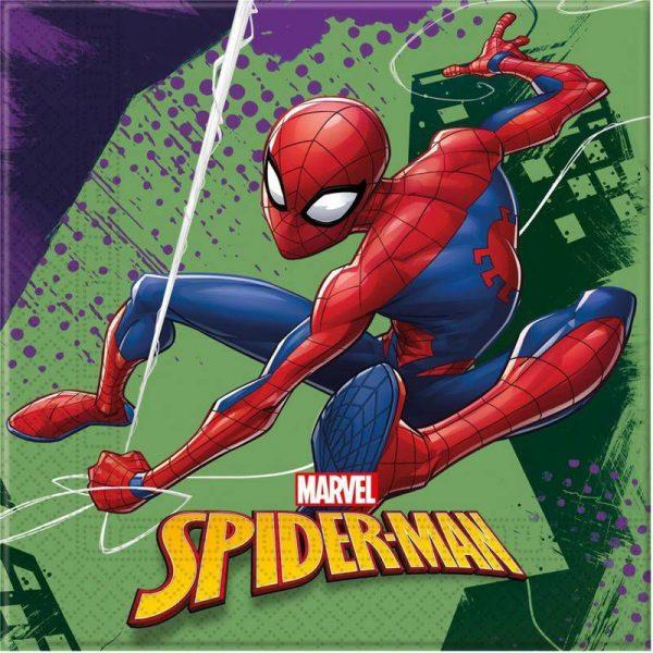 40x marvel spiderman themafeest servetten 33 x 33 cm 17142