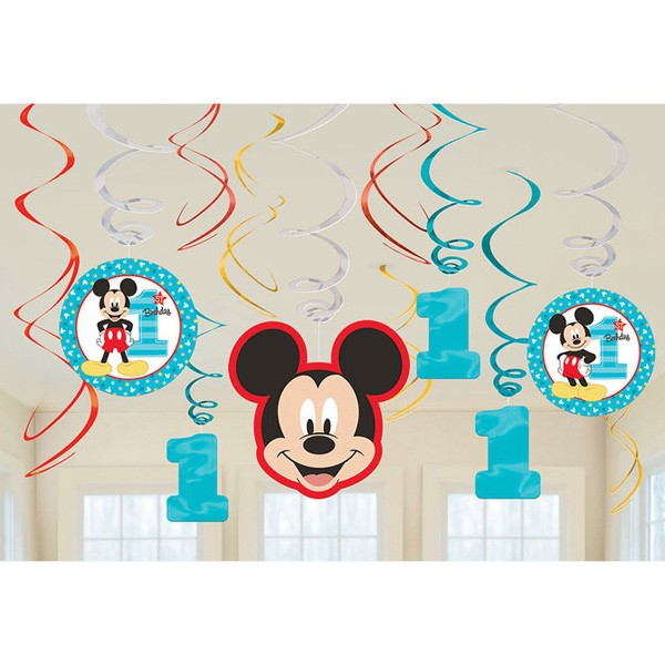 Mickey Mouse Fun to Be One 1st Birthday Cardboard Hanging Swirls Pack of 12 Amscan DS A671833 31