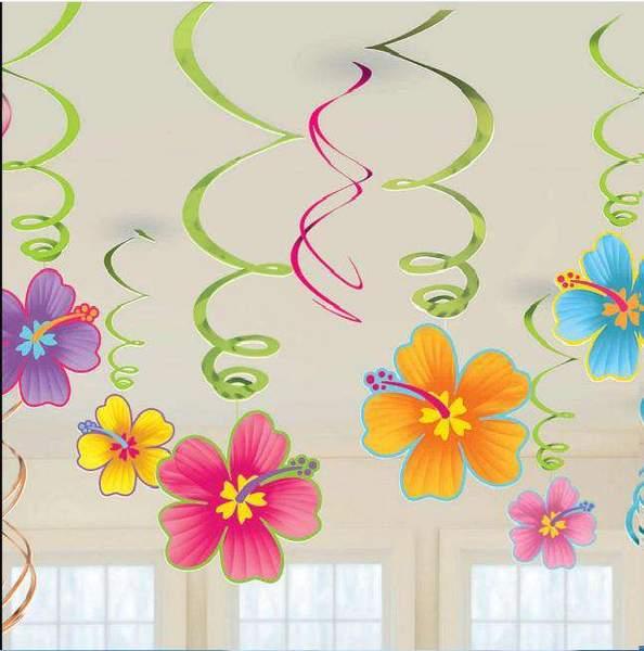Tropical Party Hibiscus Flower Swirls grande