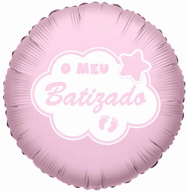 balao foil o meu batizado rosa