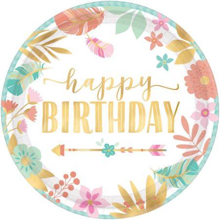 pratos florais happy birthday