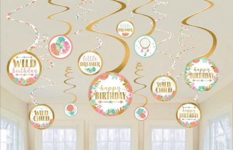 swirl decorativo floral happy birthday