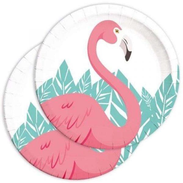 piatti fenicottero rosa 8 pz