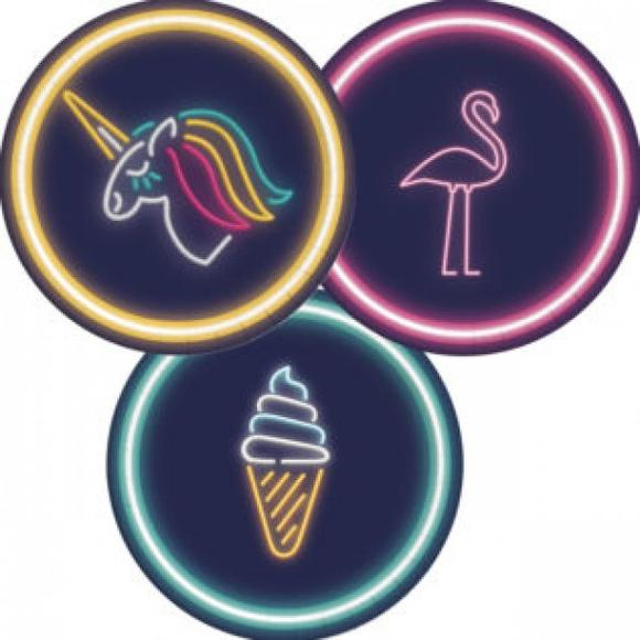 pratos neon unicornio