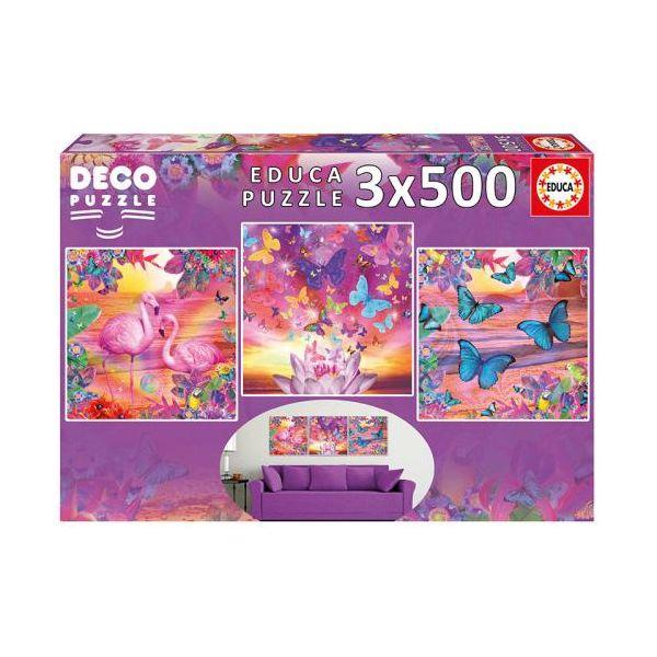 203626 3 educa puzzle 3x 500 pecas paisagens tropicais 17688