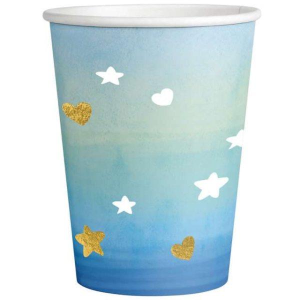 copos papel azul celeste