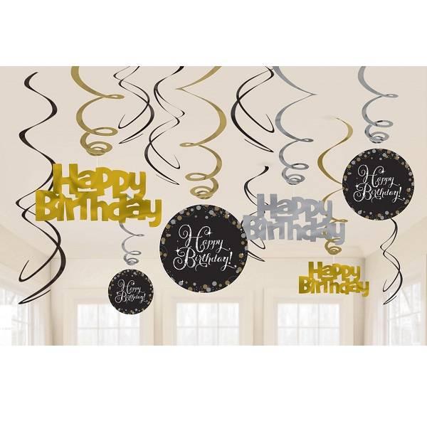 decoracao pemdant feliz aniversario 12 pc
