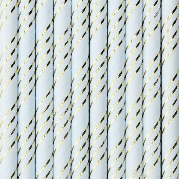 10 papier trinkhalme in hellblau mit metallic goldenen streifen