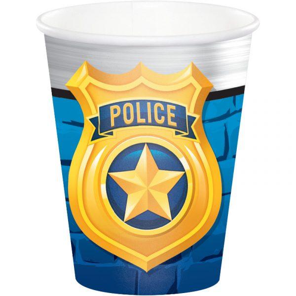 gobelets en papier anniversaire theme police