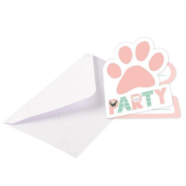 8 invitations carton hello pets