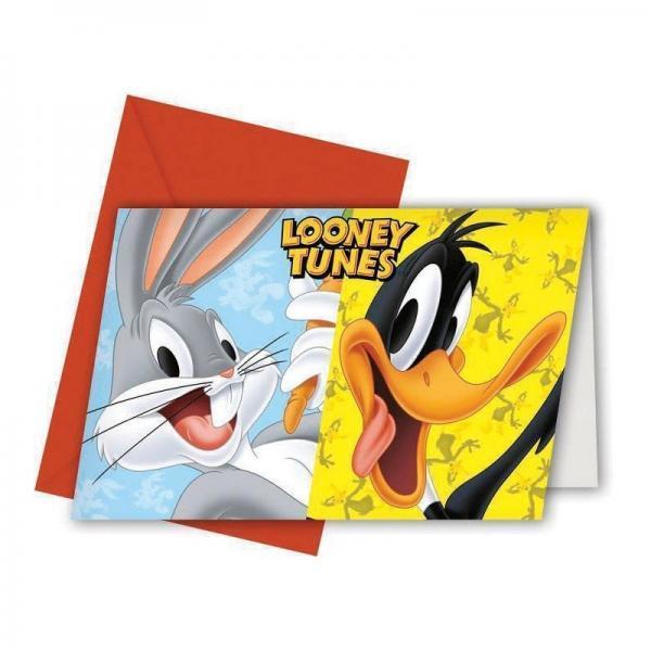 invitaciones looney tunes 6 uds
