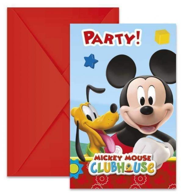 mickey mouse mikke mus party invitasjoner 6 stk 12246166044736