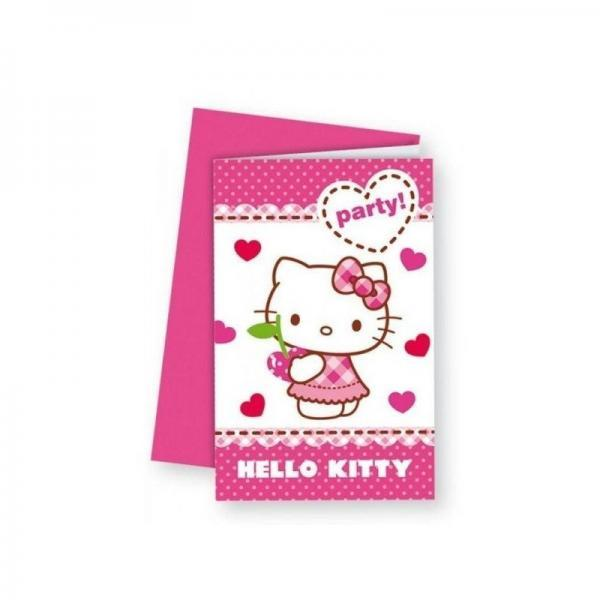 polybag 6 invitaciones hello kitty hearts