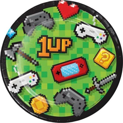 creative converting 336034 video game party dessert plates 8 count